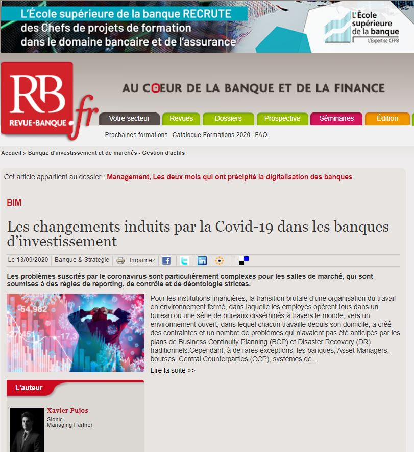 Image of Banque et Strategie piece featuring Sionic Managing Partner Xavier Pujos