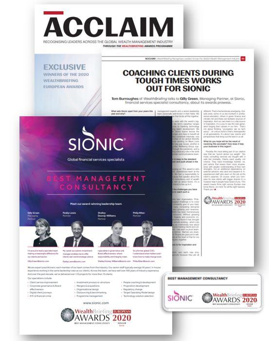 Sionic, Acclaim magazine: Best Management Consultanc