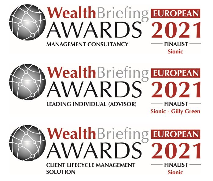 Sionic - Wealth Management Consultancy, Leading Individual (advisor) and Client Lifecycle Management (CLM) finalists.